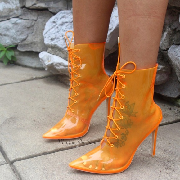 Orange Transparent Lace Up Pointy Toe